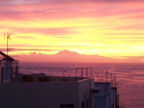 Teide på Tenerife, set fra en terrase i Santa Cruz de La